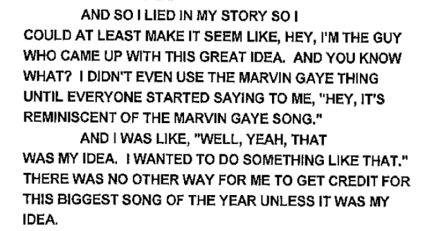 """Another quote from Robin Thicke regarding the fabricated story of """"Blurred Lines"""" creation"""
