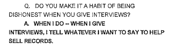 Robin Thicke responding to a laywer's question about honesty.